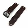 Brown Leather Replacement Watch Band Strap Black Buckle White Stitching #1109