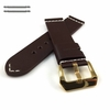 Brown Leather Watch Band Strap Belt Gold Steel Buckle White Stitching #1112