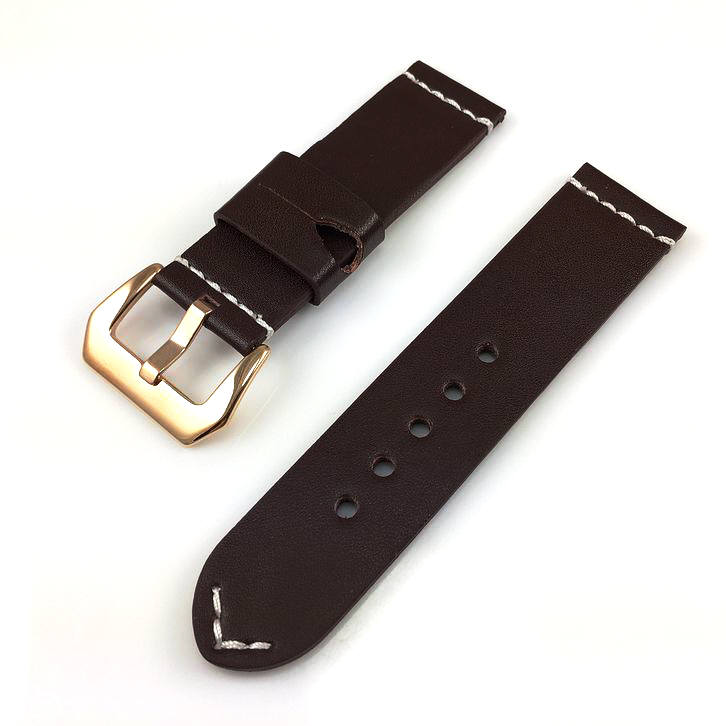 Tissot Compatible Brown Leather Watch Band Strap Rose Gold Steel Buckle White Stitching #1110