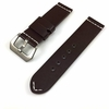 Brown Leather Watch Band Strap Silver Brushed Steel Buckle White Stitching #1111