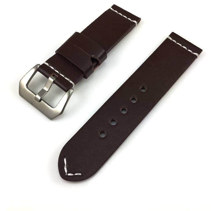 Huawei 2 Brown Leather Watch Band Strap Silver Brushed Steel Buckle White Stitching #1111