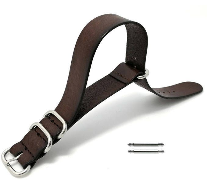 Brown One Piece Slip Through Leather 20mm Watch Band Strap 4 Steel Rings #1092