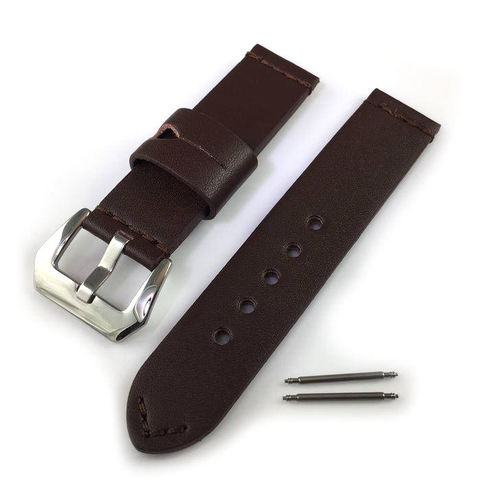 Huawei 2 Brown Premium Genuine Replacement Leather Watch Band Strap Polished Steel Buckle #1007