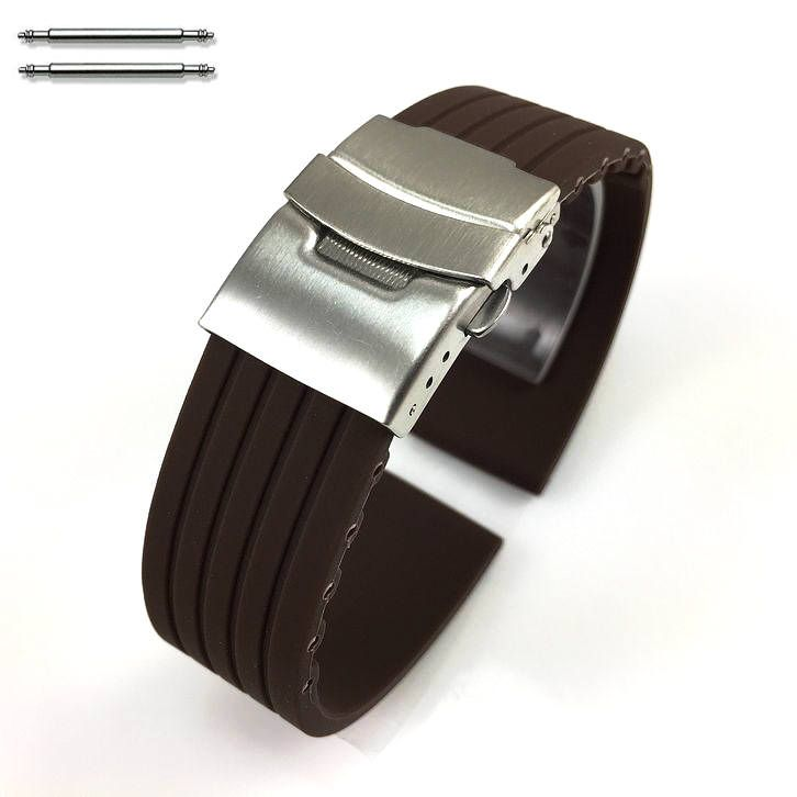 Brown Silicone 18mm Watch Band Strap Double Locking Steel Buckle Clasp #4017
