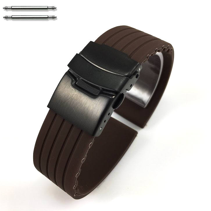 Brown Silicone 20mm Watch Band Strap Double Locking Black Steel Buckle #4018