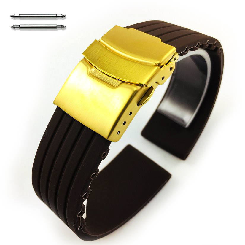 Brown Silicone Replacement 20mm Watch Band Strap Gold Double Lock Buckle #4017G
