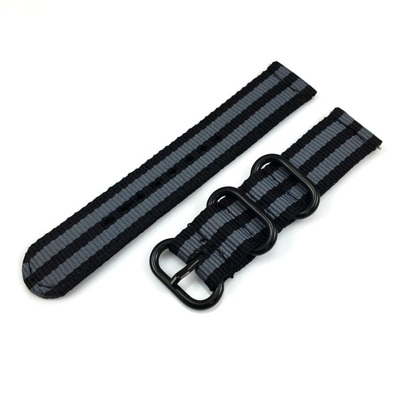 Coach Compatible Black & Gray Stripes Nylon Watch Band Strap Belt Army Military Black Buckle #6042