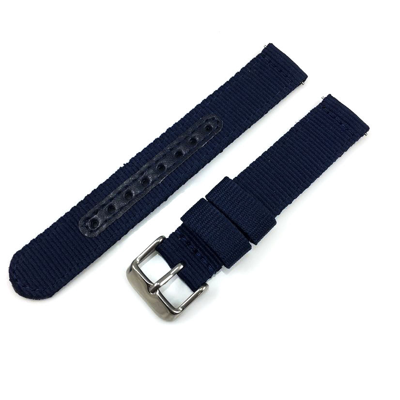 Timex Compatible Blue Canvas Nylon Fabric Watch Band Strap Army Military Style Steel Buckle #3054