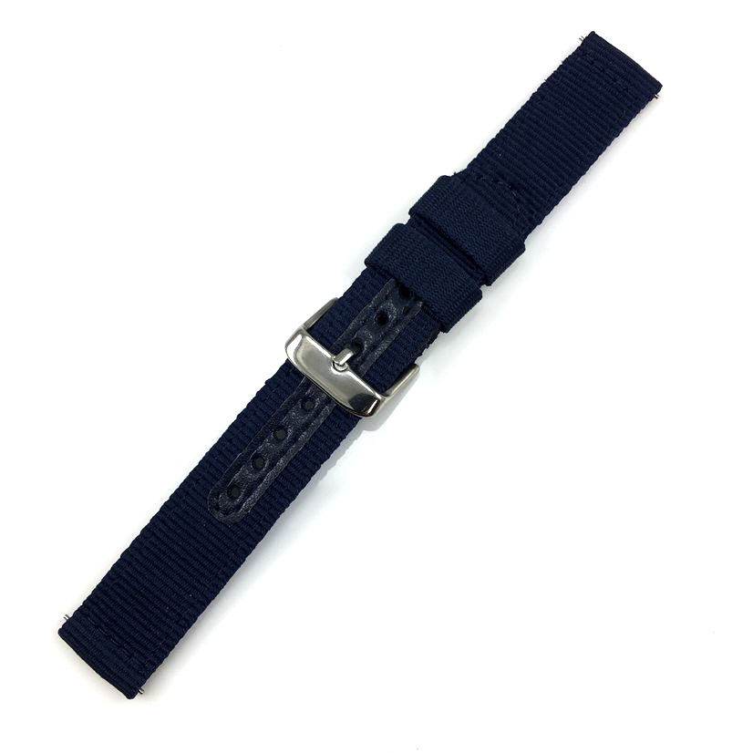 Emporio Armani Compatible Blue Canvas Nylon Fabric Watch Band Strap Army Military Style Steel Buckle #3054