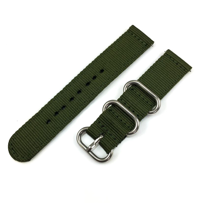 Tissot Compatible Green Nylon Watch Band Strap Belt Army Military Ballistic Silver Buckle #6033