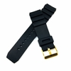 Black Silicone Diver's Style Replacement 20mm Watch Band Strap Gold Buckle #4031G