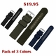 Black Canvas Nylon Fabric 20mm Watch Band Strap Army Style Steel Buckle #3051