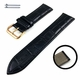 Coach Compatible Black Croco Leather Replacement Watch Band Strap Rose Gold Steel Buckle #1071