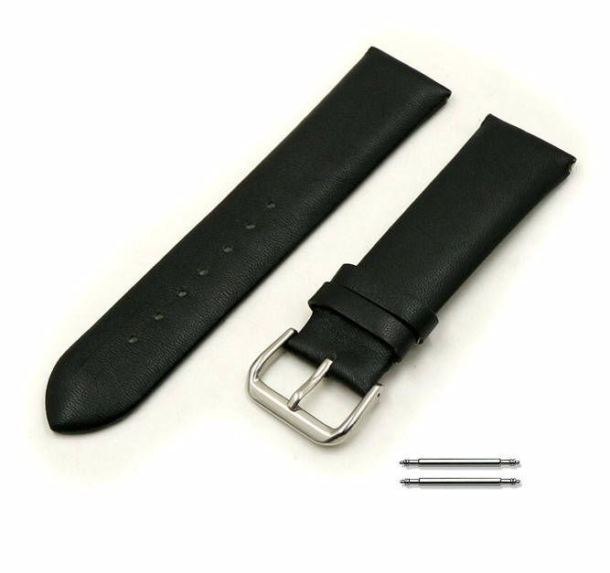 Coach Compatible Black Elegant Smooth Genuine Leather Replacement Watch Band Strap Steel Buckle #1046