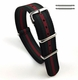 Coach Compatible Black Red Green Stripes One Piece Slip Through Nylon Watch Band Strap Buckle #6F20
