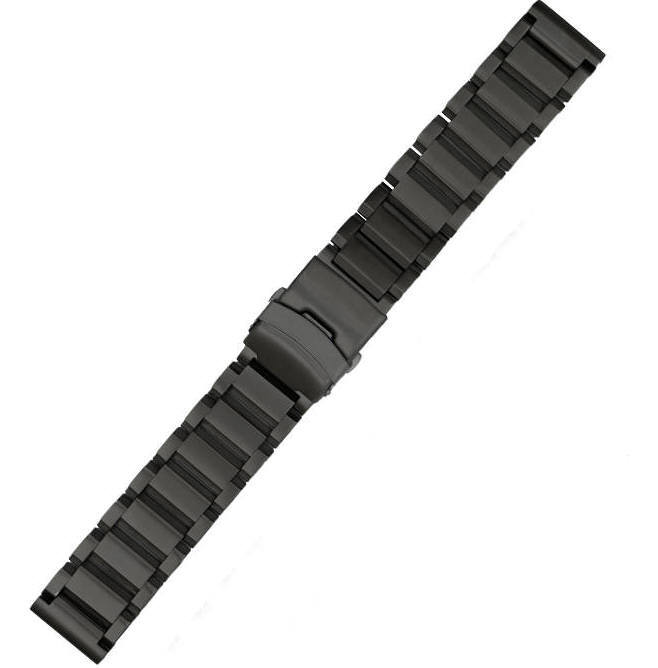 Longines Compatible Black Stainless Steel Links Bracelet Replacement Watch Band Strap Double Clasp #5002