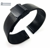 Coach Compatible Black Steel Metal Adjustable Mesh Bracelet Watch Band Strap Double Lock Clasp #5026