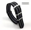 Coach Compatible Gray & Black Stripes One Piece Slip Through Nylon Watch Band Strap SS Buckle #6009