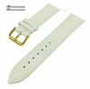 Coach Compatible White Croco Genuine Leather Replacement Watch Band Strap Gold Steel Buckle #1085