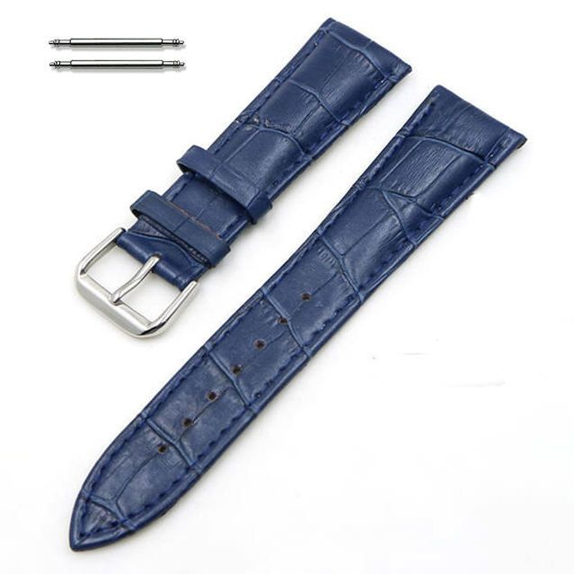 Dark Blue Croco Leather Replacement 20mm Watch Band Strap Steel Buckle #1043