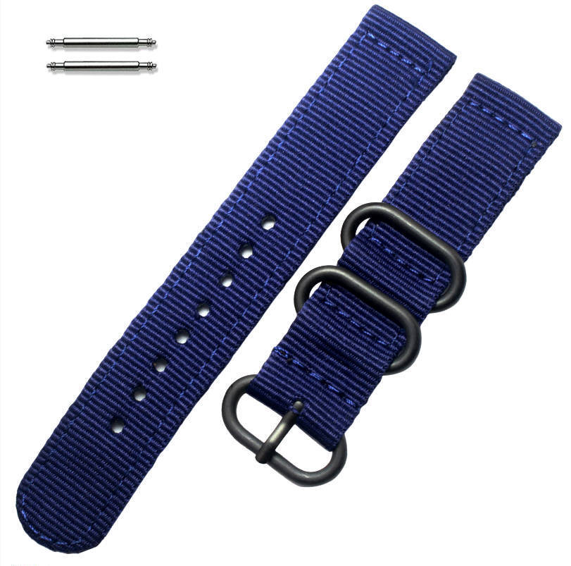 Dark Blue Nylon 20mm Watch Band Strap Army Military Ballistic Black Buckle #6036