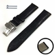 Emporio Armani Compatible Black Croco Genuine Leather Replacement Watch Band Strap Steel Butterfly Buckle #1031
