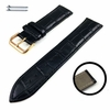 Emporio Armani Compatible Black Croco Leather Replacement Watch Band Strap Rose Gold Steel Buckle #1071