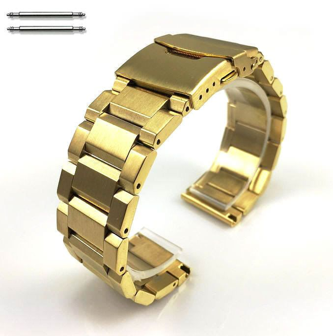 Gold Stainless Steel Metal Bracelet 20mm Watch Band Double Locking Clasp #5000G