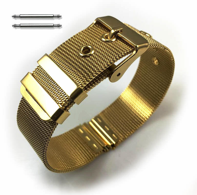 Gold Stainless Steel Thin Mesh Replacement Watch Band Strap #5108