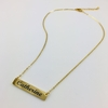 Gold Tone Personalized Laser Engraved Name Plate Bar Chain Necklace Engraving Pendant 1008