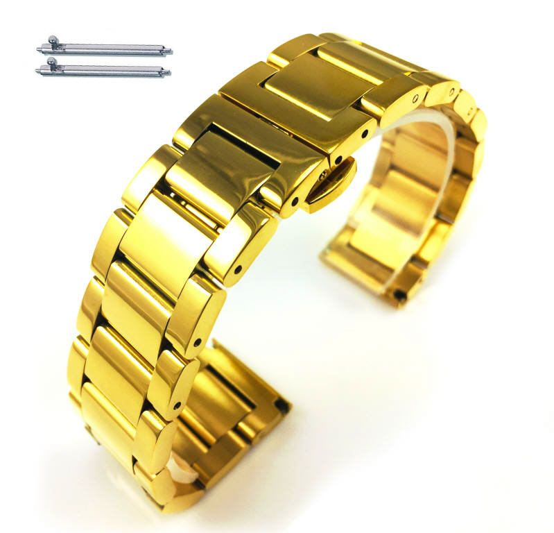 Gold Tone Steel Metal Bracelet Replacement 18mm Watch Band Butterfly Clasp #5012