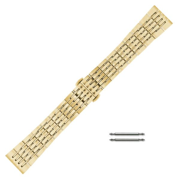 Gold Tone Steel Metal Bracelet Replacement 20mm Watch Band Butterfly Clasp #5006