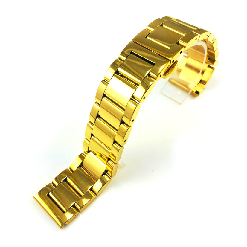Gold Tone Steel Metal Bracelet Replacement Watch Band Strap Push Butterfly Clasp #5012