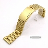 Gold Tone Steel Metal Bracelet Replacement 20mm Watch Band Button Clasp #5017