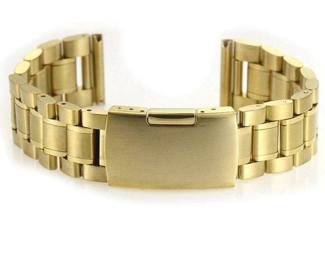 Gold Tone Steel Metal Bracelet Replacement Watch Band Strap Push Button Clasp #5017