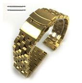 Gold Tone Steel Metal Watch Band Strap Bracelet Double Locking Buckle #5053