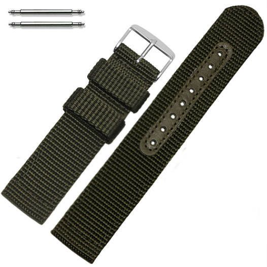 Green Canvas Nylon Fabric 20mm Watch Band Strap Army Style Steel Buckle #3052