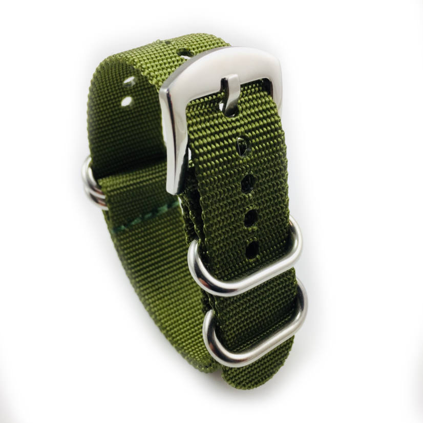 Green One Piece Slip Through Nylon 20mm Watch Band Army Military #6023