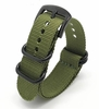 TW Steel Compatible Green One Piece Slip Through Nylon Watch Band Army Military Black Buckle #6024