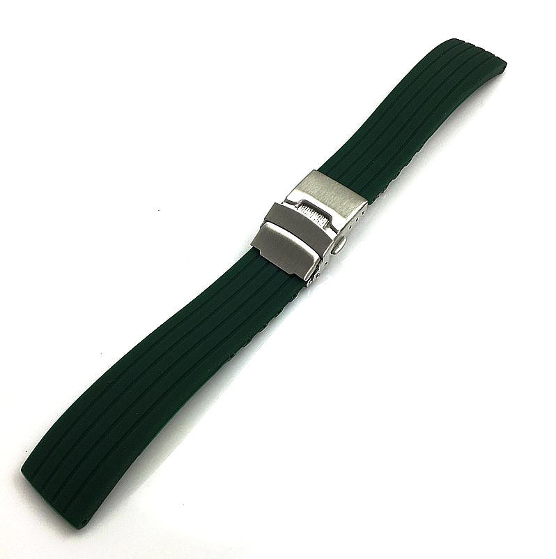 Green Silicone Replacement Watch Band Strap Double Locking Clasp #4432
