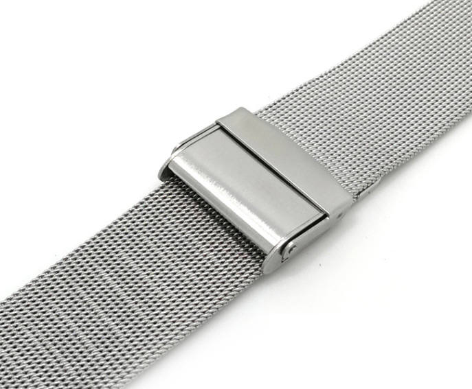 Coach Compatible Silver Steel Metal Adjustable Mesh Bracelet Watch Band Strap Double Lock Clasp #5025