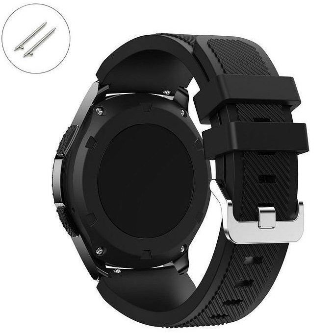 Huawei 2 Black Rubber Silicone Replacement Watch Band Strap Quick Release Pins #4041