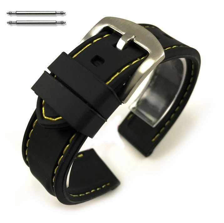 Huawei 2 Black Rubber Silicone PU Replacement Watch Band Strap Steel Buckle Yellow Stitching #4005