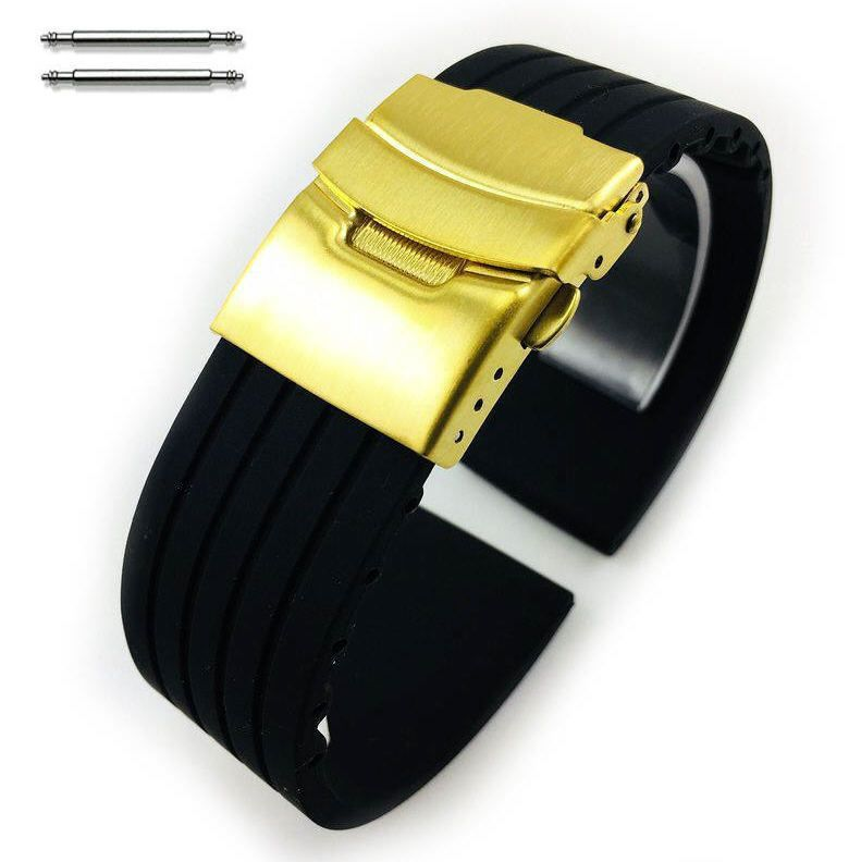 Huawei 2 Black Rubber Silicone Replacement Watch Band Strap Gold Double Lock Buckle #4011G