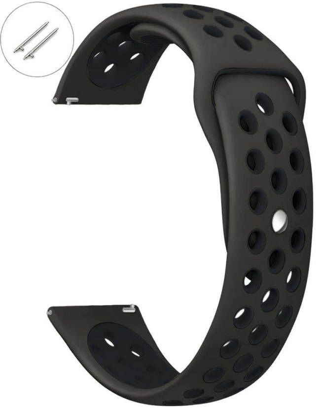 Huawei 2 Black Sports Silicone Replacement Watch Band Strap Quick Release Pins #4071