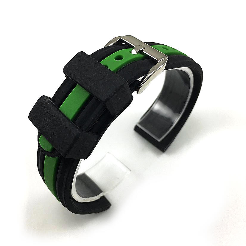Black & Green Racing Style Silicone Replacement Watch Band Strap #4423