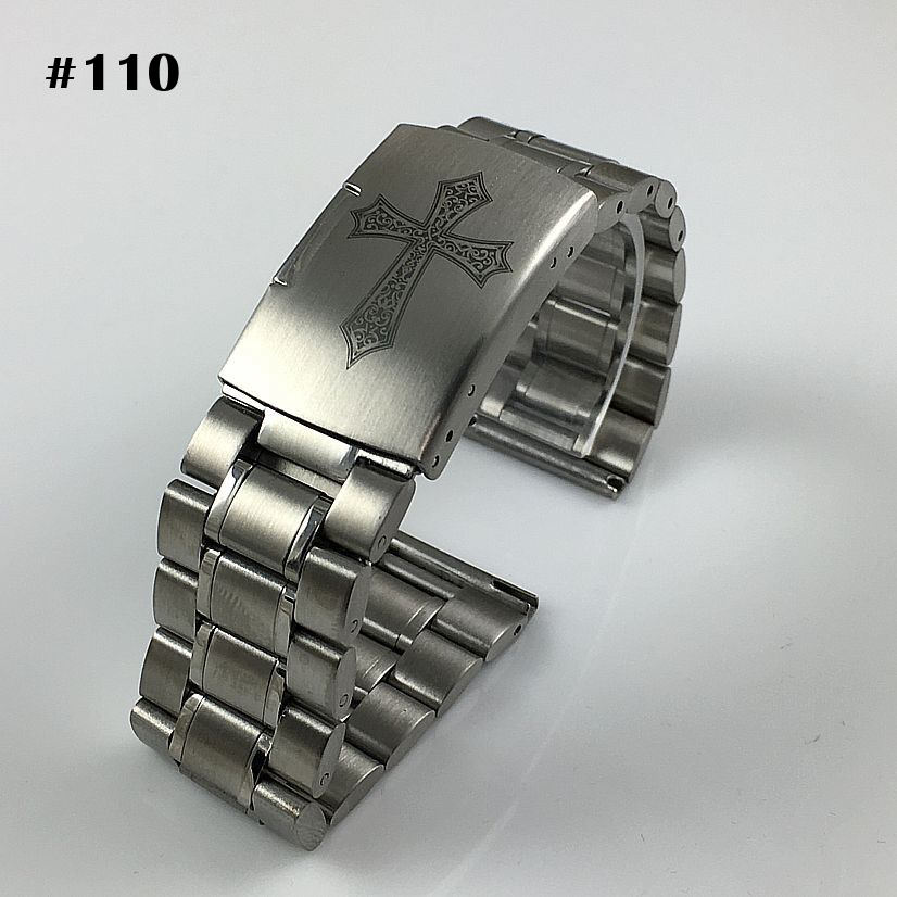 Stainless Steel Metal Bracelet Replacement Watch Band Strap Push Button Clasp #5015