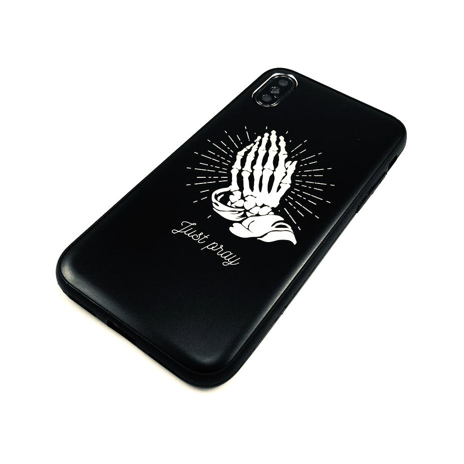 iPhone & Samsung Aluminum Metal Cell Phone Case Cover Skeleton Hands Praying 280