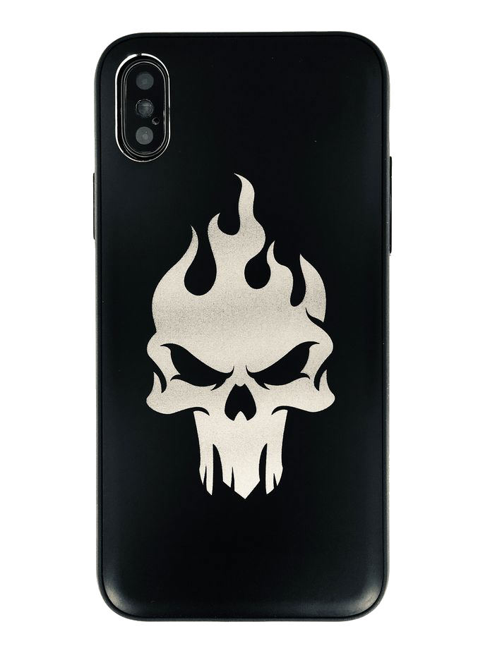 Iphone & Samsung Aluminum Metal Phone Case Cover Flaming Skull on Fire Logo #001
