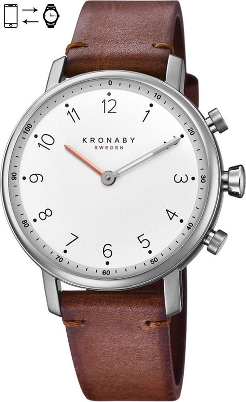 Kronaby Sweden Nord 38mm High End Hybrid Brown leather Smart Watch S0711-1
